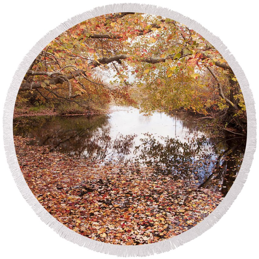 Steven Natanson Round Beach Towel featuring the photograph Autumn Tranquility by Steven Natanson