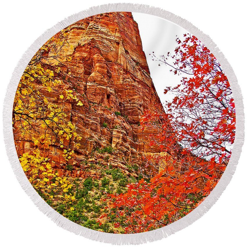 Autumn View Along Zion Canyon Scenic Drive In Zion Canyon In Zion National Park Round Beach Towel featuring the photograph Autumn View Along Zion Canyon Scenic Drive In Zion National Park-utah by Ruth Hager