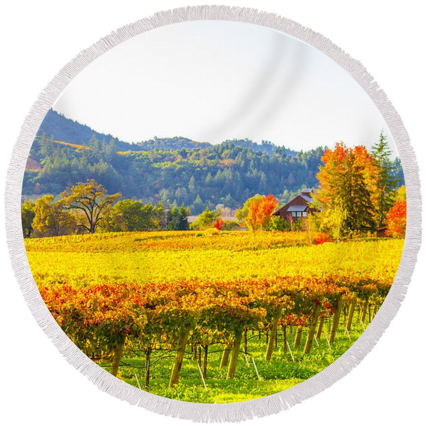 Autumn Round Beach Towel featuring the photograph Dry Creek Valley Vineyards, California by Tirza Roring