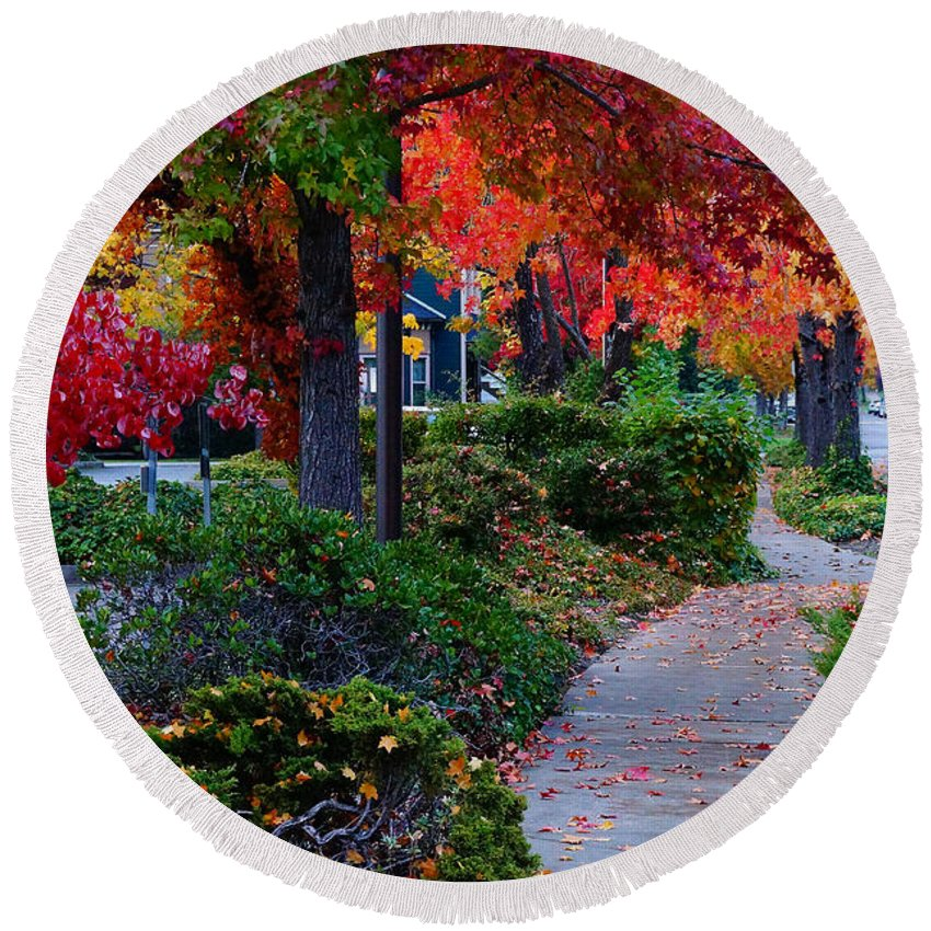 Grants Pass Round Beach Towel featuring the photograph Autumn Walk In Grants Pass by Mick Anderson