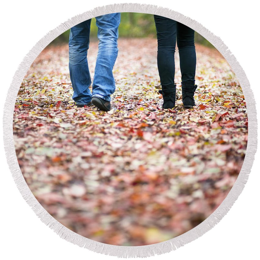 Couple Round Beach Towel featuring the photograph Autumn Walk In The Woods by Lee Avison