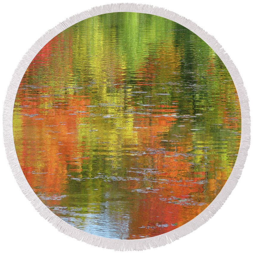 Autumn Round Beach Towel featuring the photograph Autumn Water Colors by Ann Horn