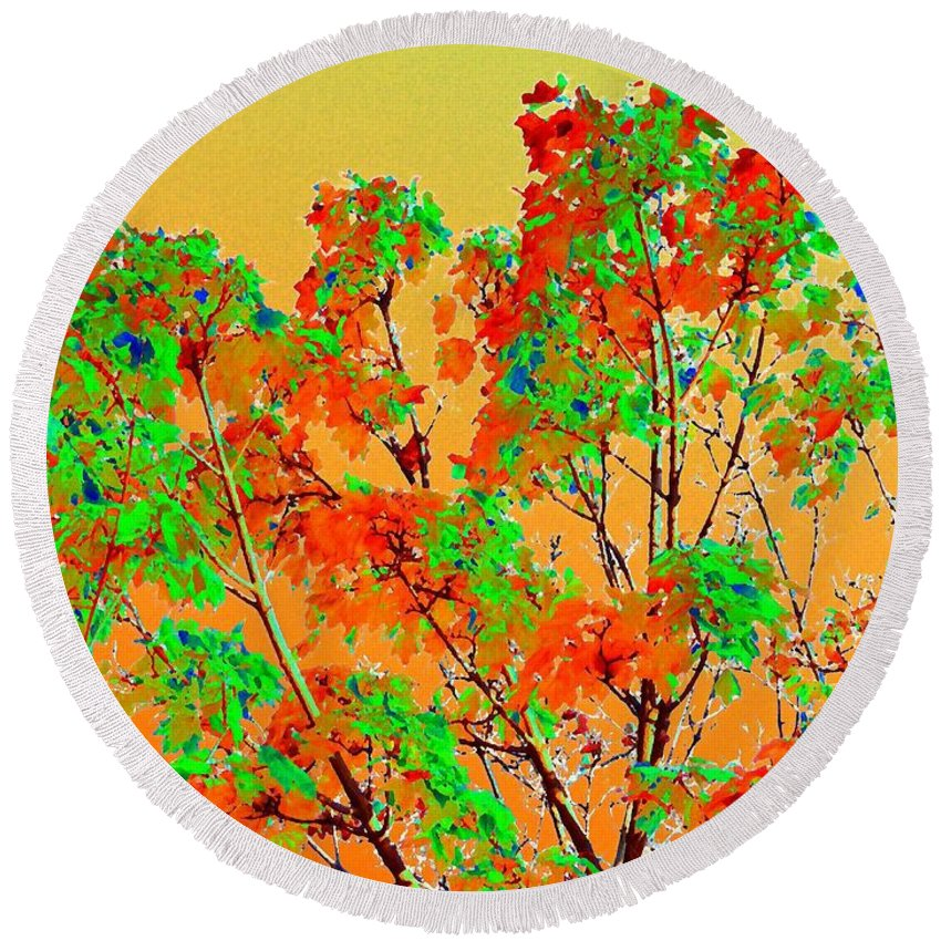 Autumn Watercolor Painting Round Beach Towel featuring the digital art Autumn Watercolor Painting by Will Borden