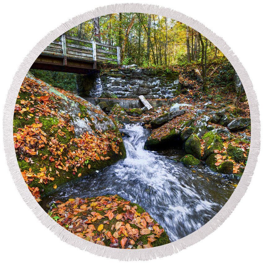20 Round Beach Towel featuring the photograph Autumn Waterfall by Debra and Dave Vanderlaan
