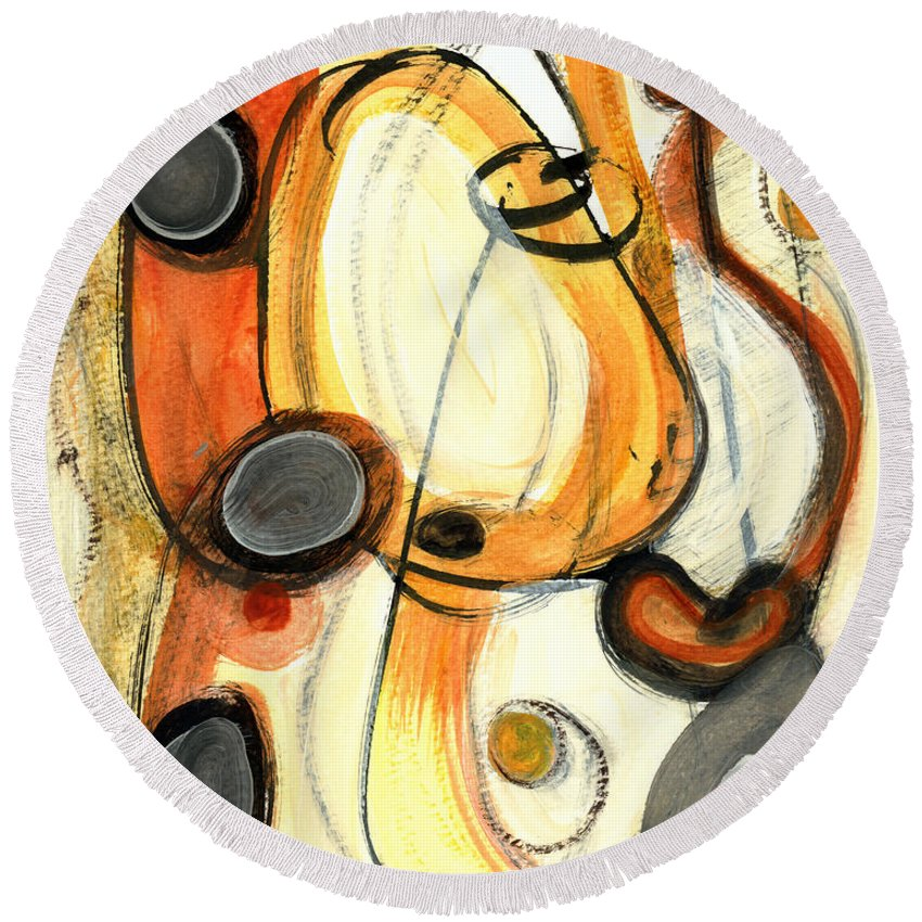 Abstract Art Round Beach Towel featuring the painting Autumn Winds by Stephen Lucas