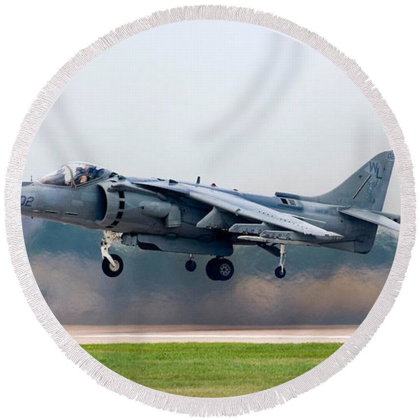 3scape Round Beach Towel featuring the photograph Av-8b Harrier by Adam Romanowicz