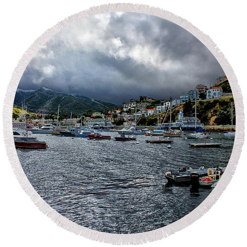 Avalon Round Beach Towel featuring the photograph Avalon Harbor by Stefan H Unger