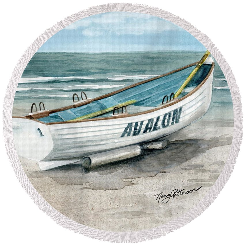 b688dac7739b Lifeguard Boat Round Beach Towel featuring the painting Avalon Lifeguard  Boat by Nancy Patterson