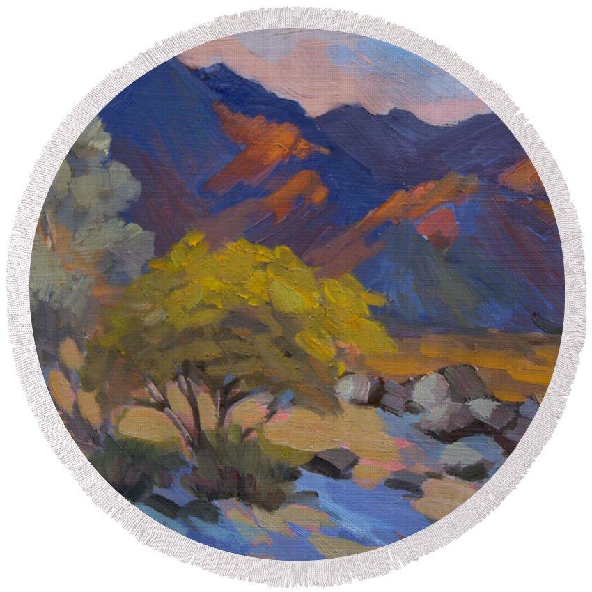 Desert Round Beach Towel featuring the painting Avenida Montezuma Scene by Diane McClary