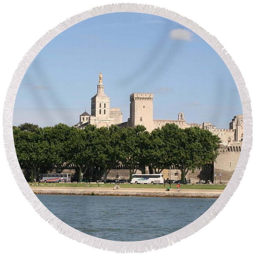 City Round Beach Towel featuring the photograph Avigon View From River Rhone by Christiane Schulze Art And Photography