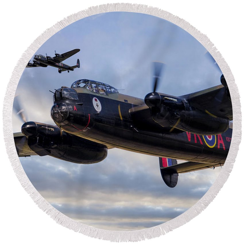 Avro Round Beach Towel featuring the digital art Avro Lancasters by J Biggadike