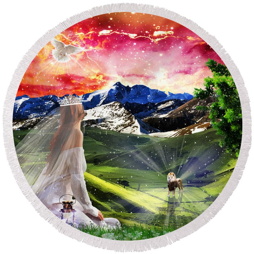 Kingdom Of Heaven Lion Of Judah Bride Of Christ Dove Of Peace Round Beach Towel featuring the digital art Awaiting The King by Dolores Develde