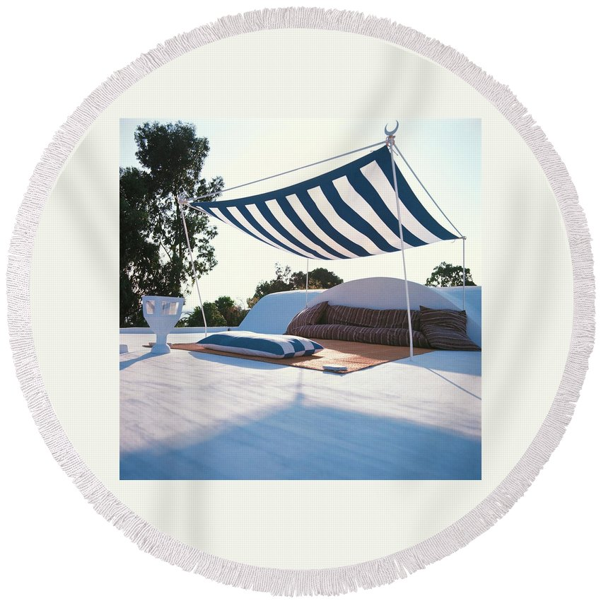 Exterior Round Beach Towel featuring the photograph Awning At The Vacation Home Of Gaston Berthelot by David Massey
