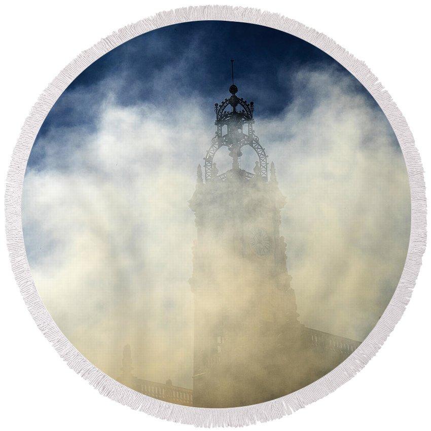 Valencia Ayuntamiento Round Beach Towel featuring the photograph Ayuntamiento In Masclaeta Smoke by For Ninety One Days