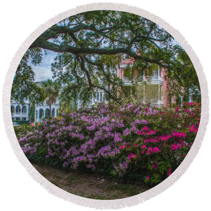Spring Round Beach Towel featuring the photograph Azalea Row by Dale Powell