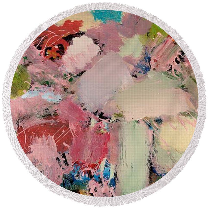 Landscape Round Beach Towel featuring the painting Azaleas by Allan P Friedlander