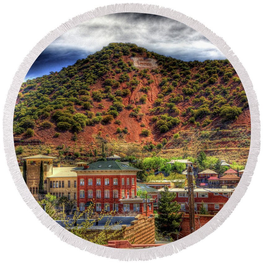 B Round Beach Towel featuring the photograph B Hill Over Historic Bisbee by Charlene Mitchell