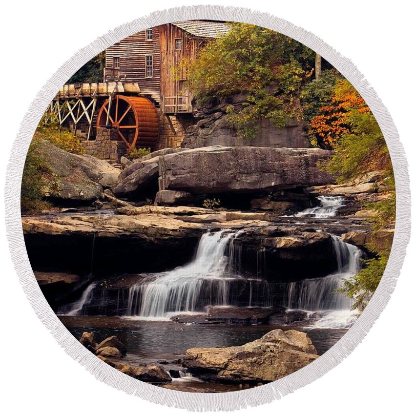 Fall Round Beach Towel featuring the photograph Babcock Grist Mill And Falls by Jerry Fornarotto