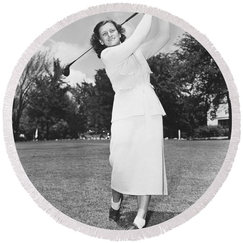 1950 Round Beach Towel featuring the photograph Babe Didrikson Golfing by Underwood Archives