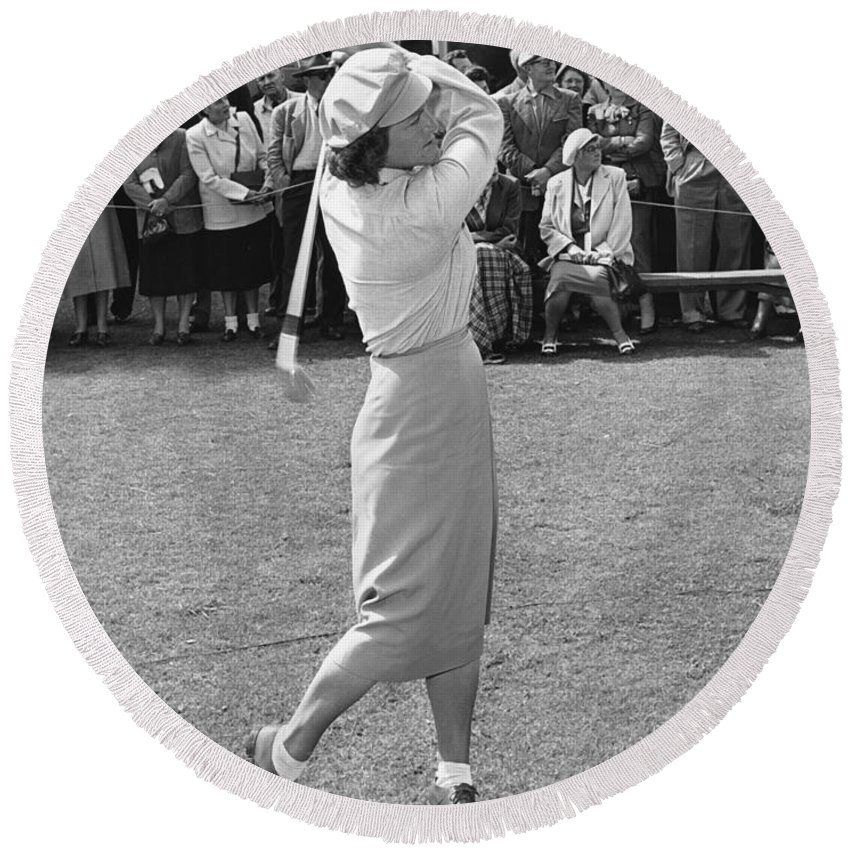 1951 Round Beach Towel featuring the photograph Babe Didrikson Teeing Off by Julian Graham