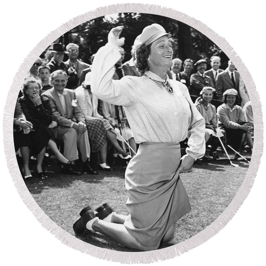 1950 Round Beach Towel featuring the photograph Babe Didrikson Zaharias by Underwood Archives