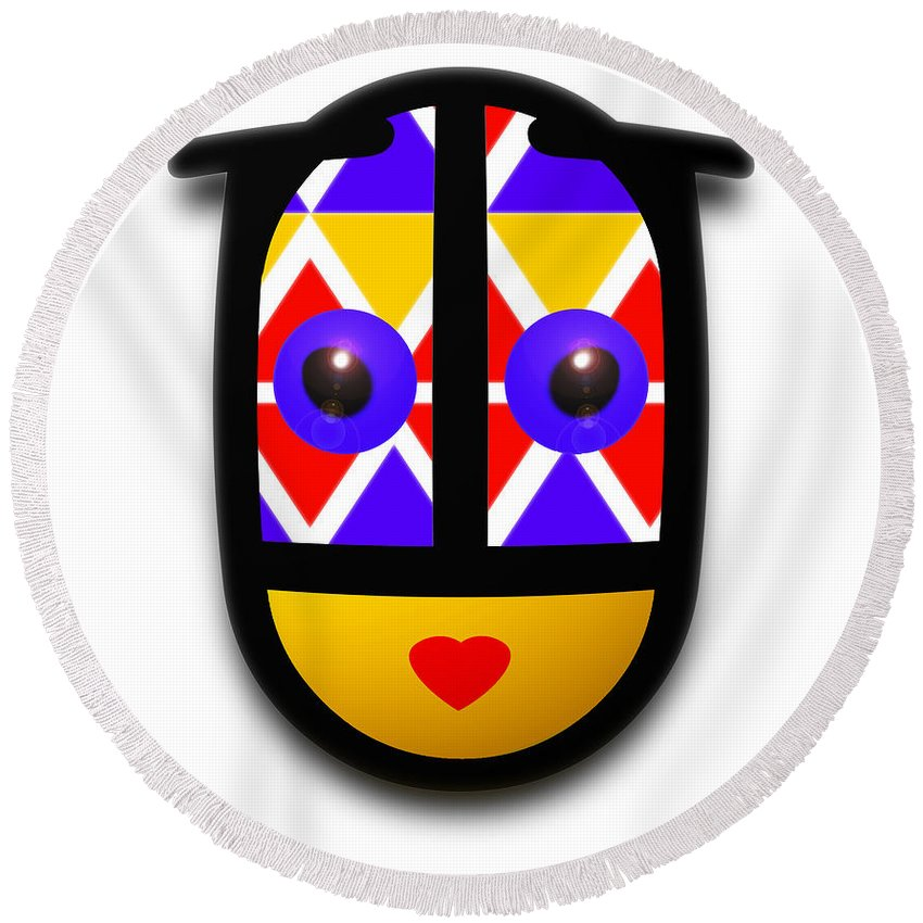 Native American Round Beach Towel featuring the digital art Babe Native by Charles Stuart