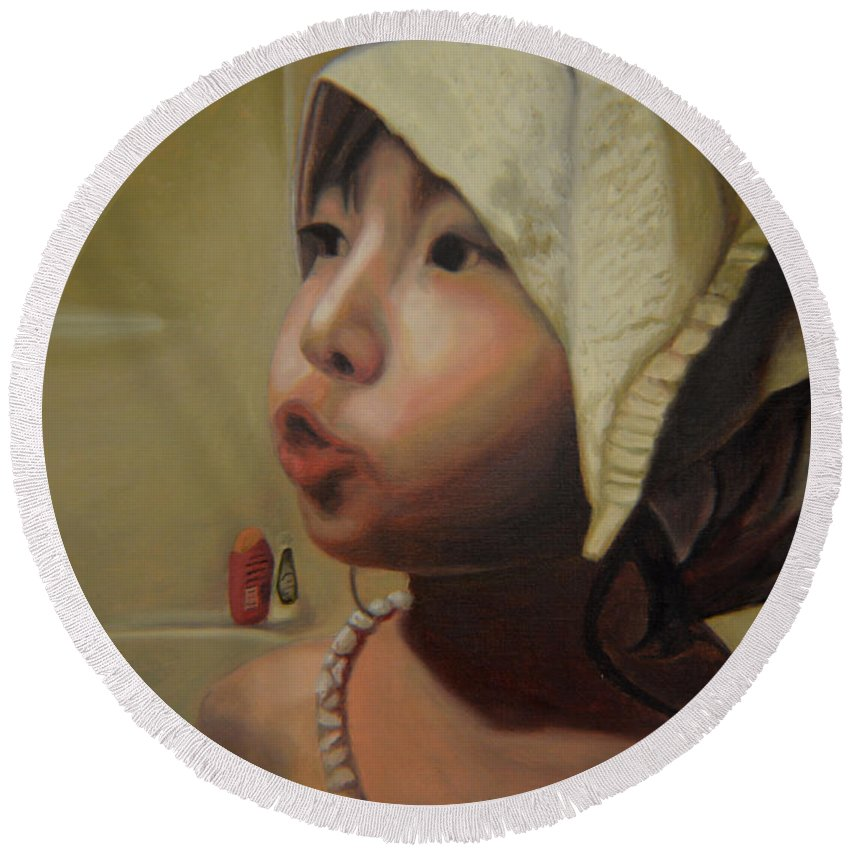 Figure Round Beach Towel featuring the painting Baby Bath Mama by Thu Nguyen