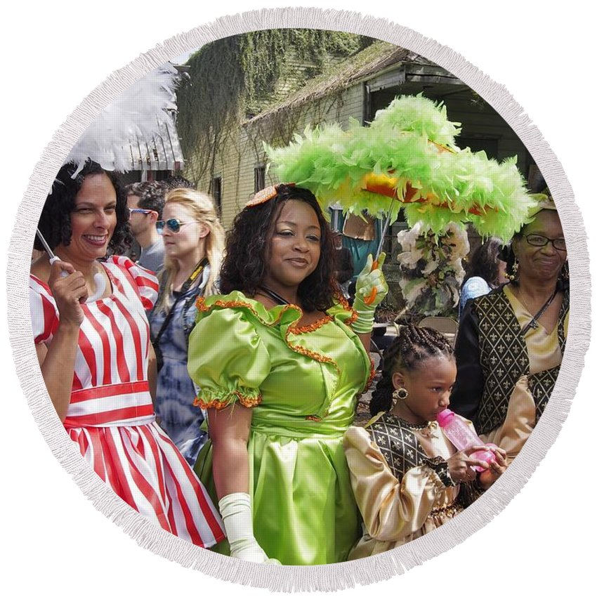 New Orleans Round Beach Towel featuring the photograph Baby Dolls by William Morgan