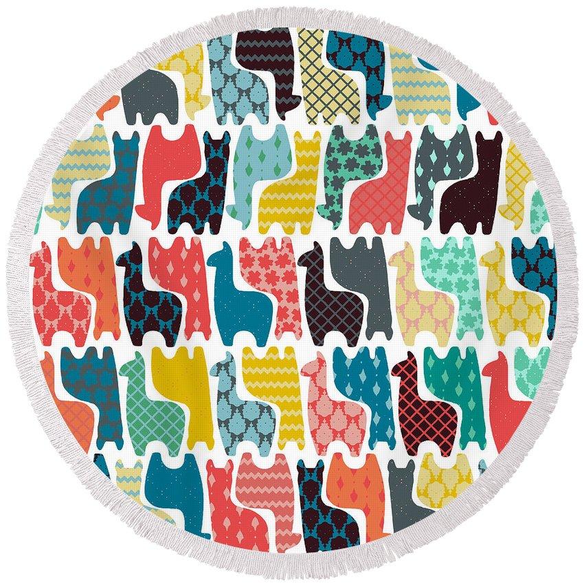 Llama Round Beach Towels