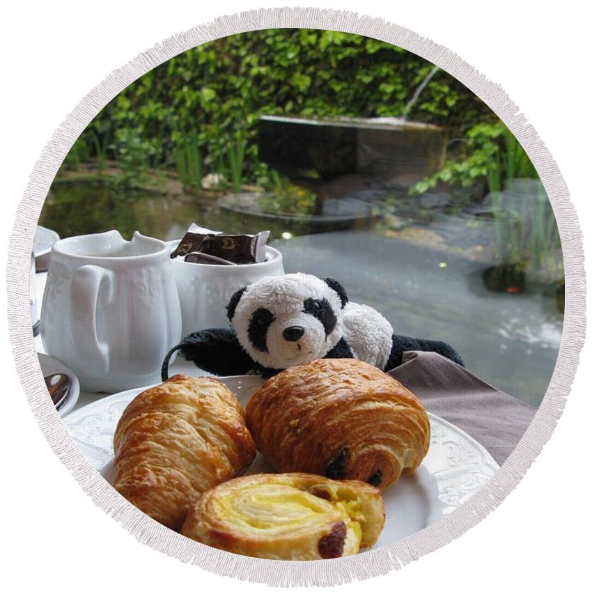 Food Round Beach Towel featuring the photograph Baby Panda And Croissant Rolls by Ausra Huntington nee Paulauskaite