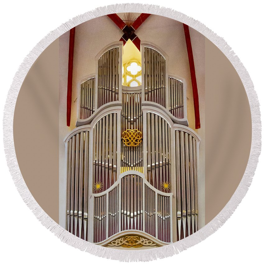 Leipzig Round Beach Towel featuring the photograph Bach Organ Leipzig by Jenny Setchell