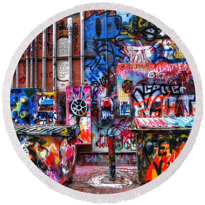 Graffiti Round Beach Towel featuring the photograph Back Alley Canvas by Anthony Wilkening