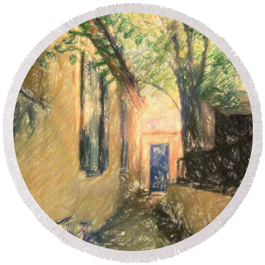 Painting Round Beach Towel featuring the drawing Back Door by Zapista