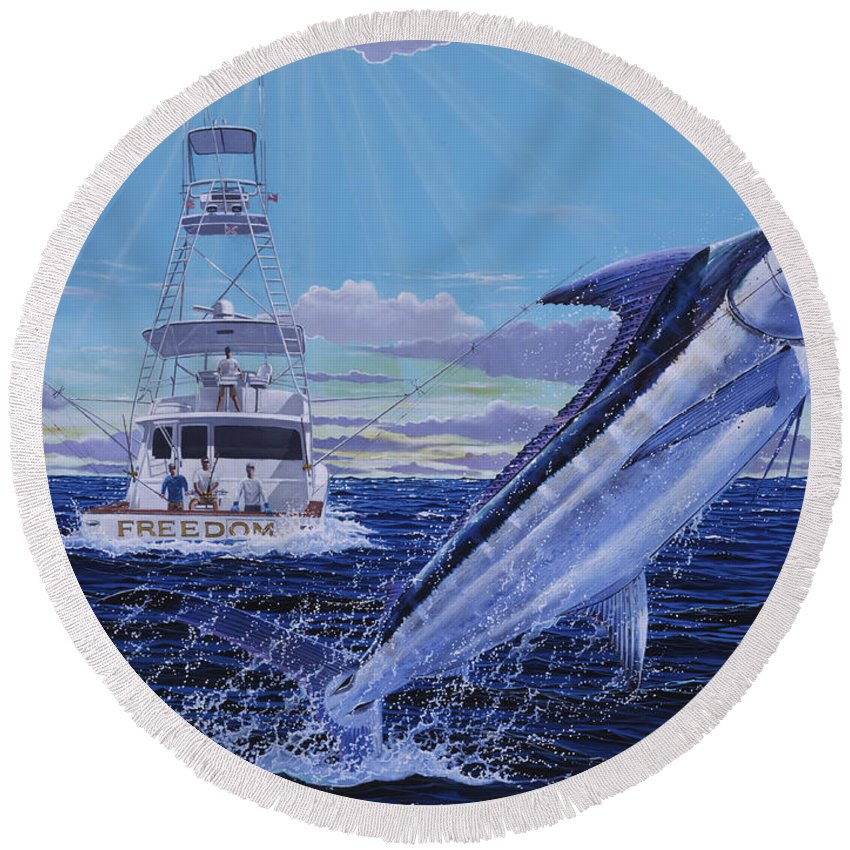 Marlin Round Beach Towel featuring the painting Back Her Down Off00126 by Carey Chen