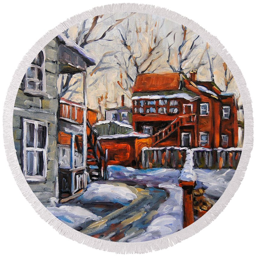 Urban Round Beach Towel featuring the painting Back Lanes 02 Montreal By Prankearts by Richard T Pranke