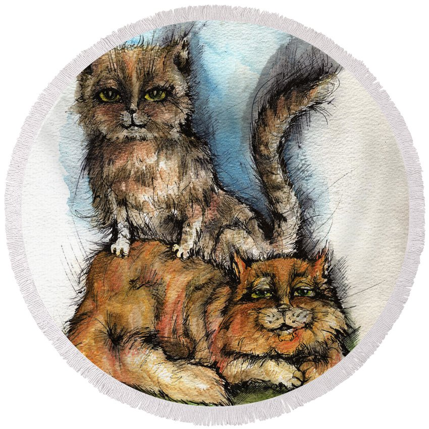 Cat Round Beach Towel featuring the painting Back Massage by Angel Ciesniarska