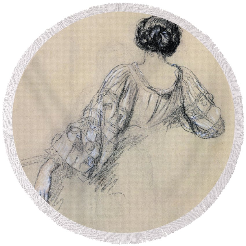 Rear View Round Beach Towel featuring the drawing Back Of A Young Woman by Antoine Auguste Ernest Herbert
