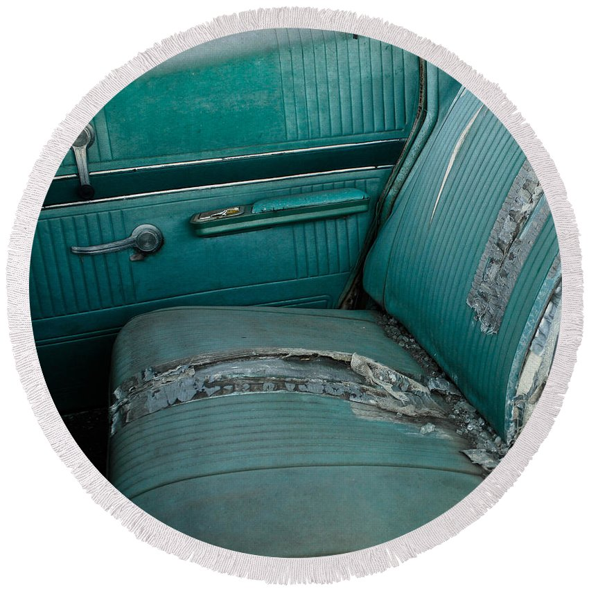 Back Seat Round Beach Towel featuring the photograph Back Seat Blues by The Artist Project