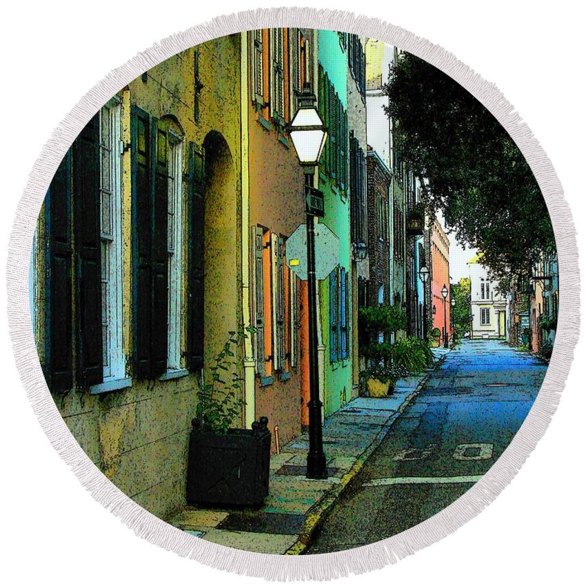 Digital Art Round Beach Towel featuring the photograph Back Street In Charleston by Rodney Lee Williams