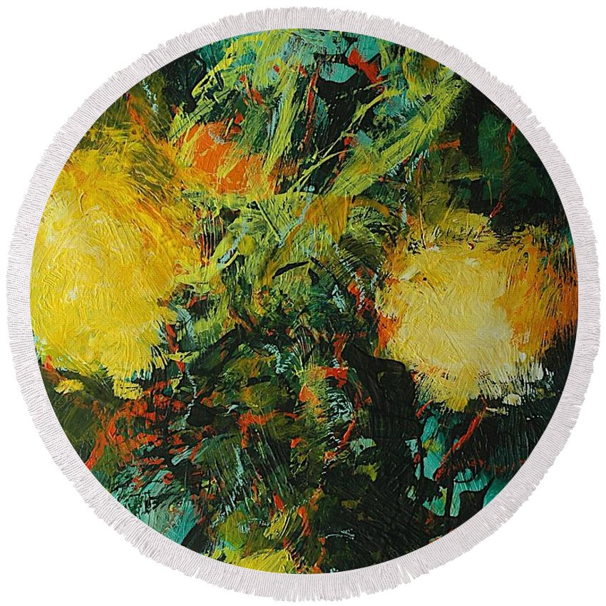 Landscape Round Beach Towel featuring the painting Back To Eden by Allan P Friedlander