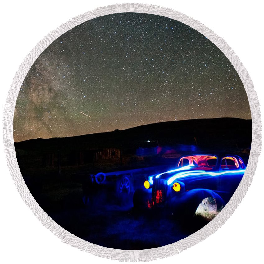 Night Round Beach Towel featuring the photograph Back To Life by Cat Connor