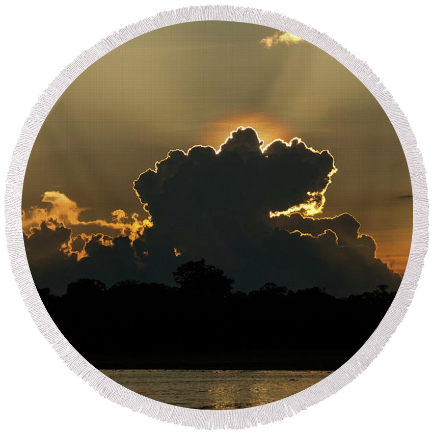 Travel Destinations Round Beach Towel featuring the photograph Backlit Clouds During Sunset Over Lago by Vitor Marigo