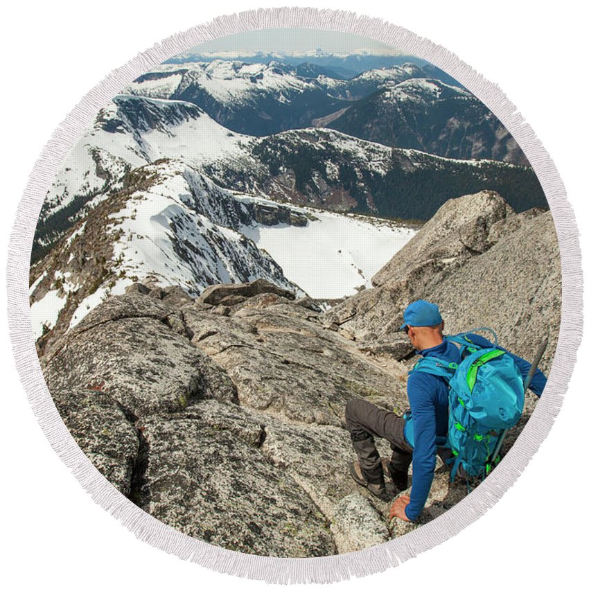 Mountain Range Round Beach Towel featuring the photograph Backpacker Descending Needle Peak by Christopher Kimmel