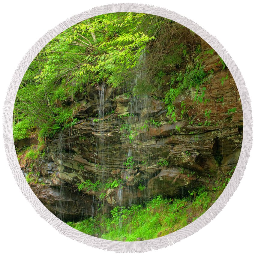 Feature Art Round Beach Towel featuring the photograph Backroads Waterfall In West Virginia by Paulette B Wright