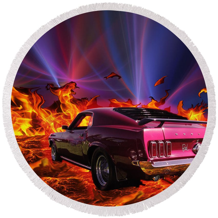 Cars Round Beach Towel featuring the photograph Bad Attitude by Chris Thomas