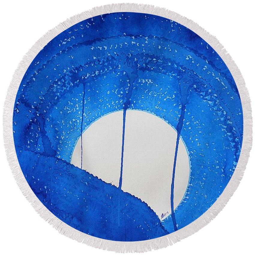Moon Round Beach Towel featuring the painting Bad Moon Rising Original Painting by Sol Luckman