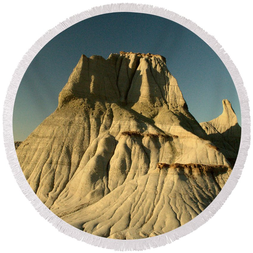 Hoodoo Round Beach Towel featuring the photograph Badlands Hoodoo by Matthew Naiden