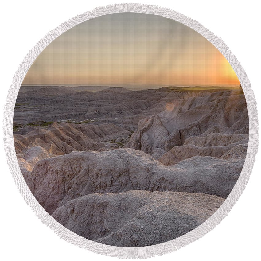 3scape Round Beach Towel featuring the photograph Badlands Overlook Sunset by Adam Romanowicz