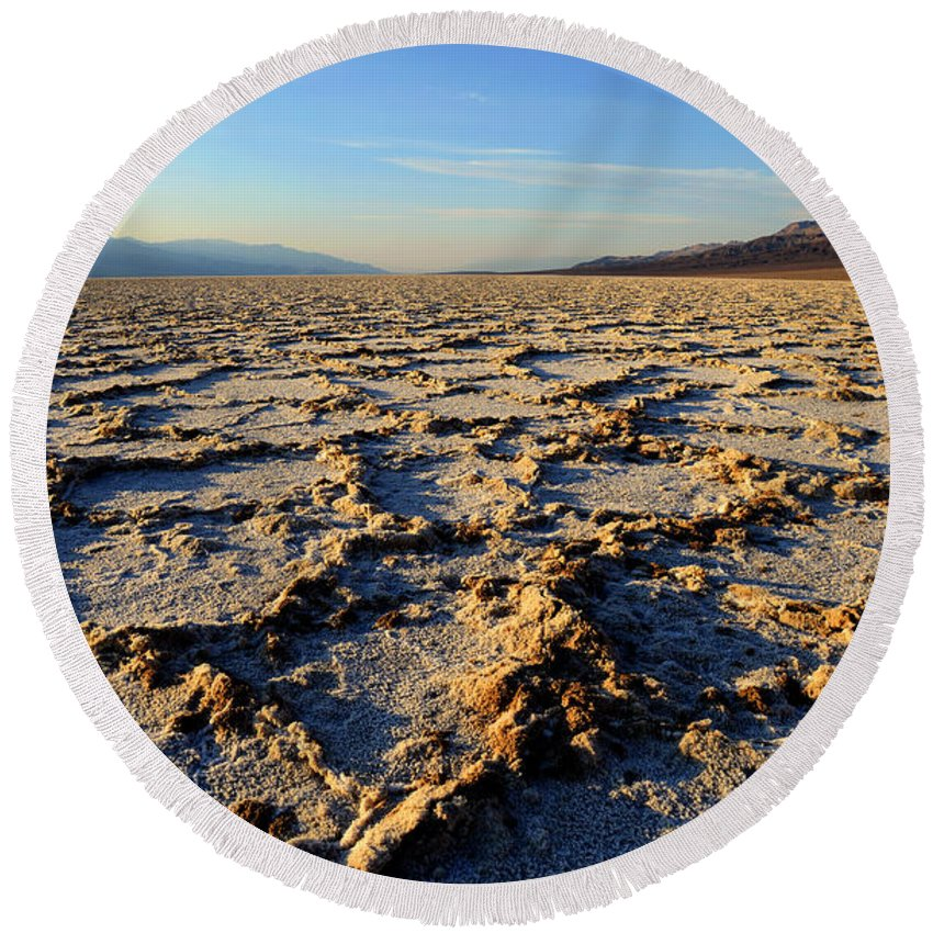 Badwater Basin Round Beach Towel featuring the photograph Badwater Basin by Michael Sims