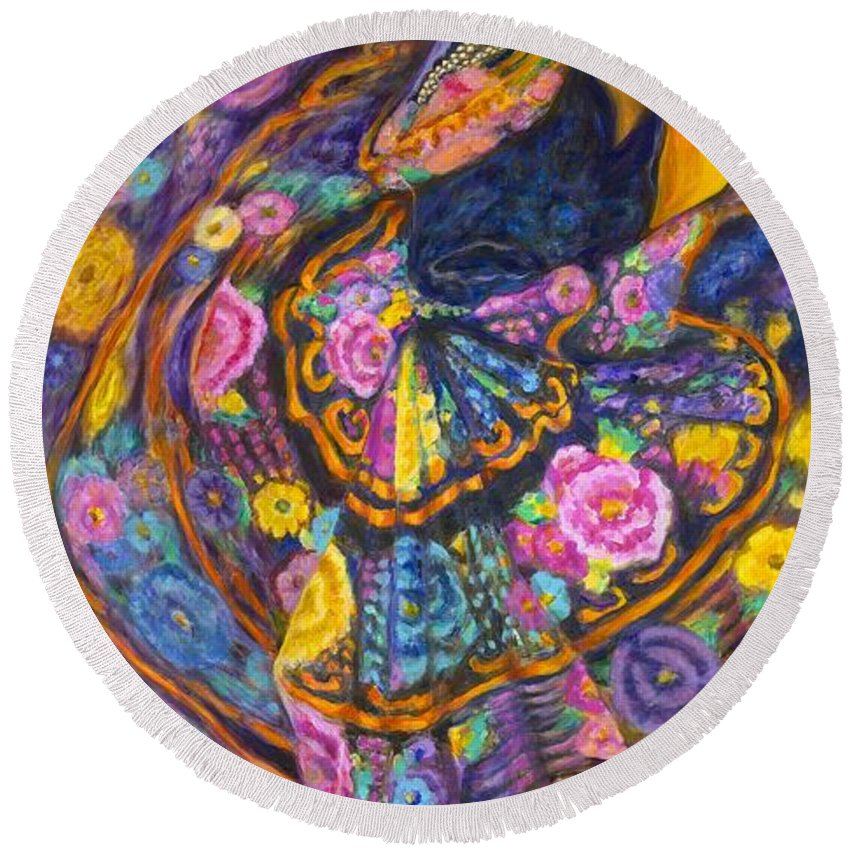 Mexican Round Beach Towel featuring the painting Baile En Las Flores by Pat Haley